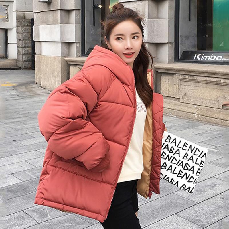 Giacca invernale con cappuccio oversize Donne Solid donna parka allentato cotone imbottito stile coreano spesso strato signore cappotto femminile 200928