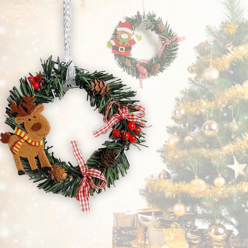 2020 Décor bois Couronne de Noël pour la maison Père Noël Bonhomme de neige grand pour sapins de noël de Noël cadeau Pendentif Navidad