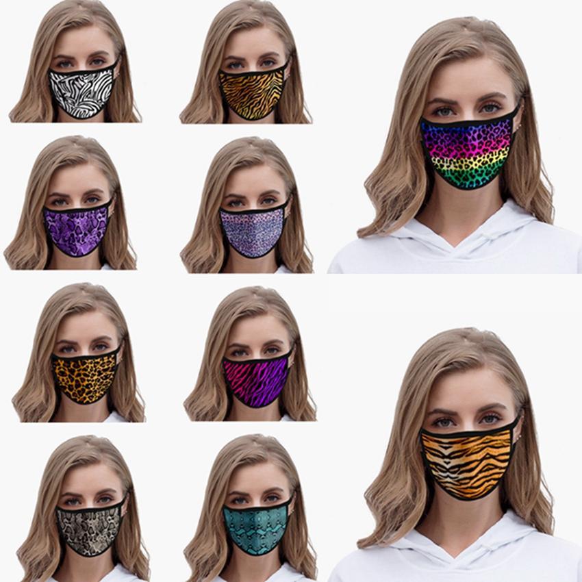 Tierdruck-Gesichtsmaske Baumwollgaze Anti-Staub-Wiederverwendbare Waschbar Maske Leopard 3D gedruckt Adult Mode Masken Designer HHA1432