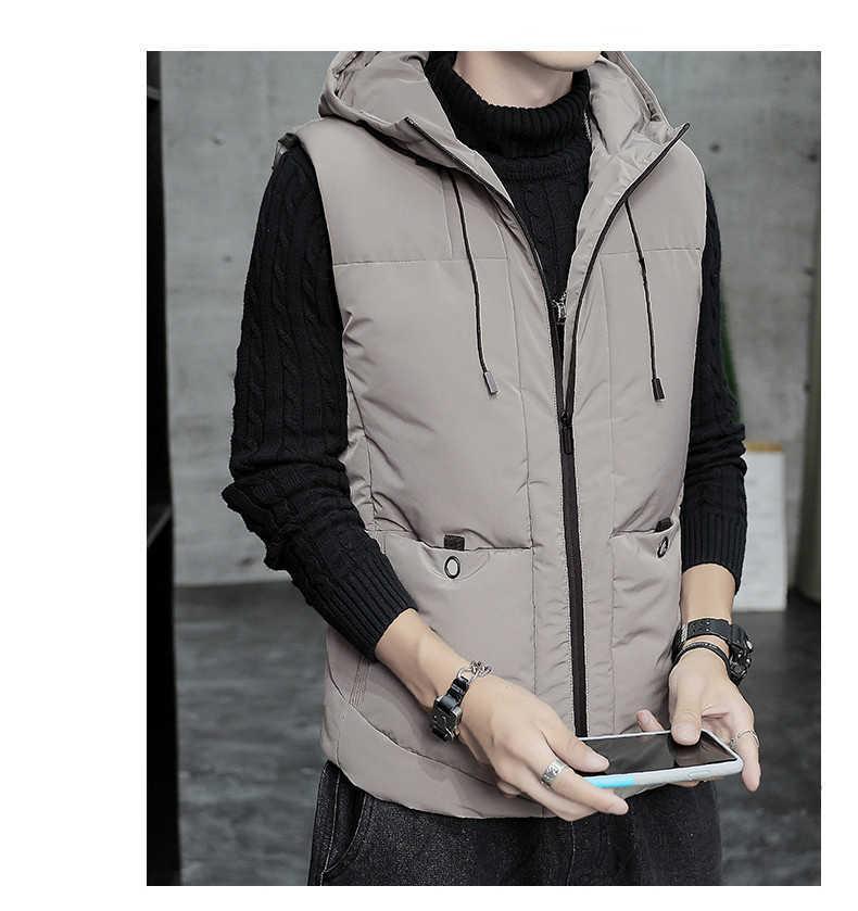 Nueva llegada para hombre de la chaqueta del chaleco de los hombres de moda de invierno gruesa Mantener caliente abajo concede ocasional de la capa sin mangas de las chaquetas con capucha
