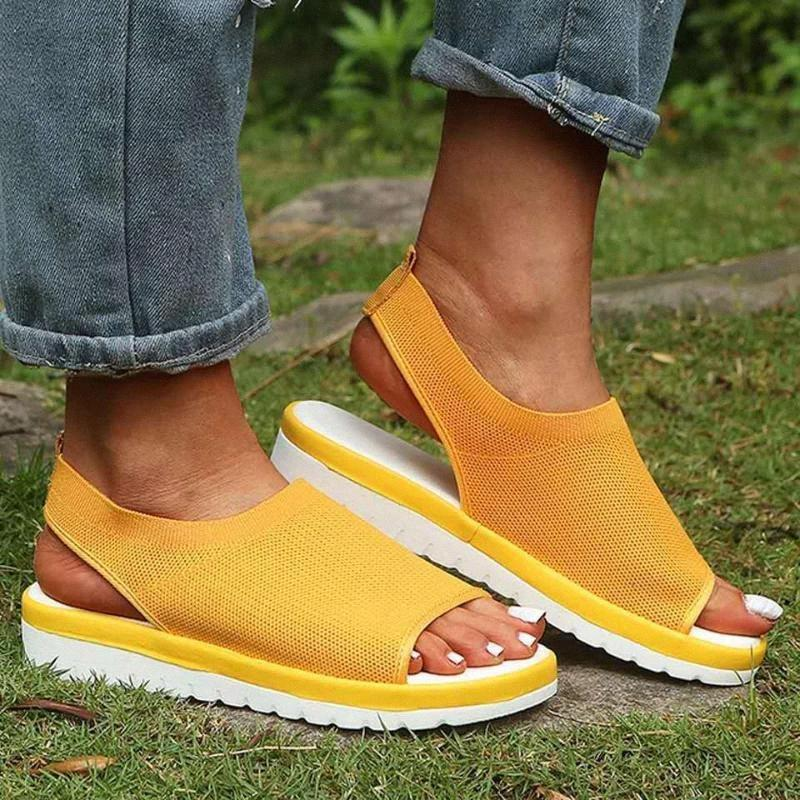 NEW Sommer-Frauen Sandalen öffnen Zehe-Keil-Plattform-Damen Schuhe Strick Leichte Sneakers Flip Flops Big Size Schuhe Mujer GFXM #