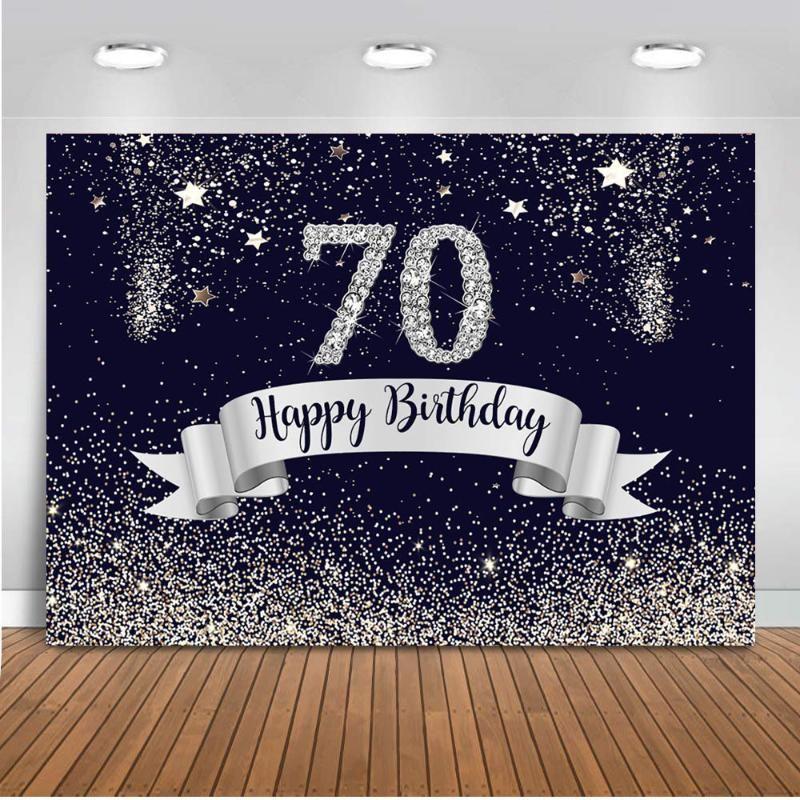 Blu navy 70 ° compleanno sfondo per la decorazione del partito del nastro sfondo glitter per il vinile fotografia in studio di personalizzazione fondali