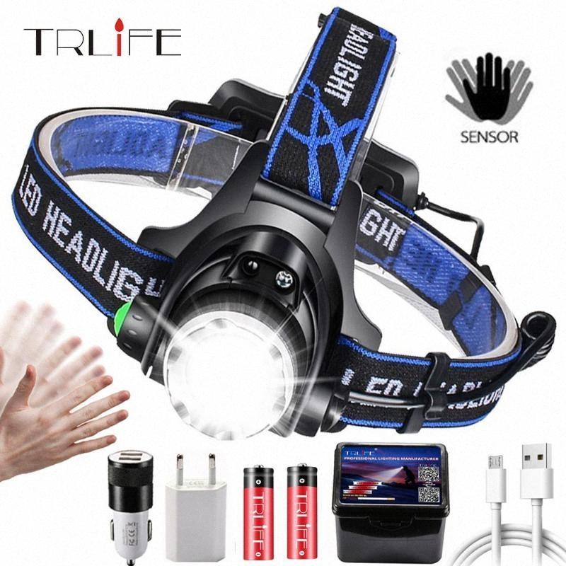 LED luminoso eccellente del faro T6 / L2 / V6 Zoomable della lampada della testa della torcia faro Lanterna con LED Corpo sensore di movimento per il campo ycgN #