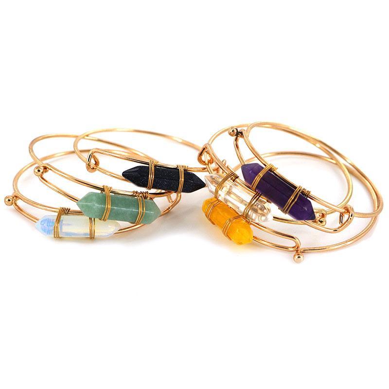 2020 Creative Healing Crystals Bracelets Amethyst Rose Quartz Bead Bracelet Healing Point Women Natural Stone Bangle Cuff Jewelry