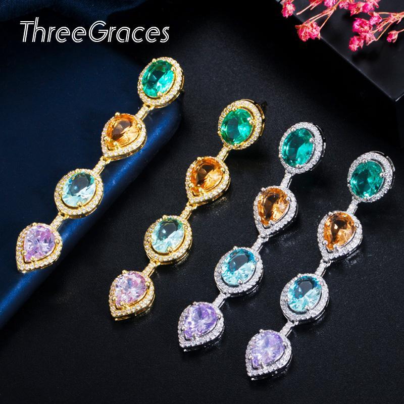 ThreeGraces Великолепный овальный зеленый кристалл Кубический циркон уха линия Tear Drop цепи Длинные серьги для женщин Роскошные ювелирные изделия ER449 партии