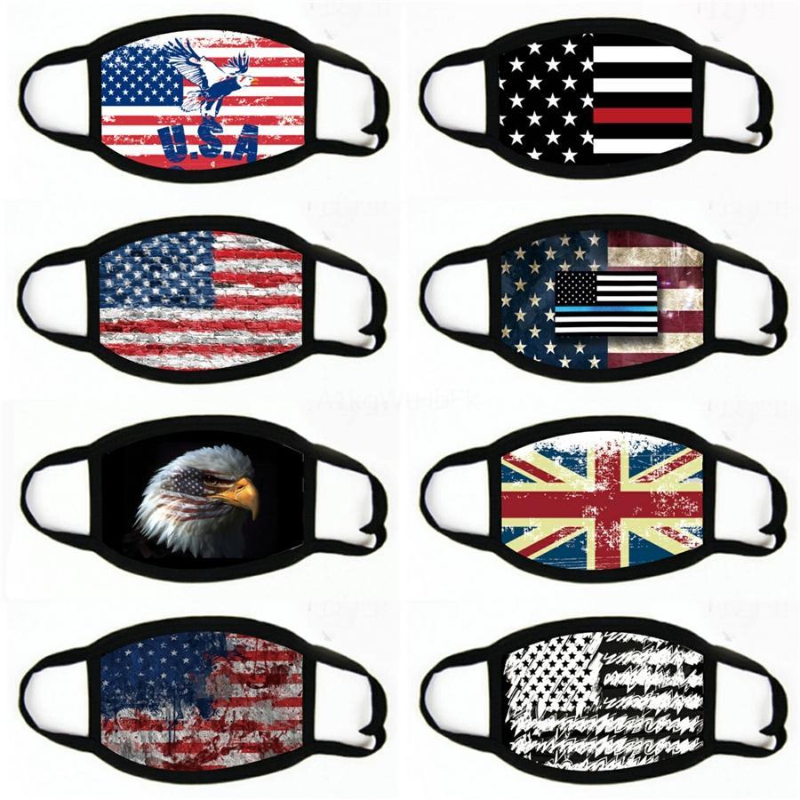 Fashion Face Mask США американский флаг печати дышащий Рот-Муфельные оголовье Veil шарф Открытый пыле маска # 743
