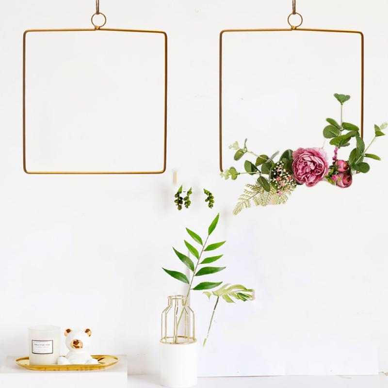 Nordic Style Creative Wrought Iron Rope Artificial Flower Hanging Pendant Home Wedding Geometric Wall Decor