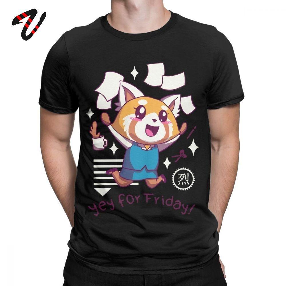 Erkekler Aggretsuko Tee Gömlek Agresif Retsuko Yey İçin Cuma Mutlu Weeken Tişört% 100 Pamuk Tişörtler Parti Giyim için Tişörtlü