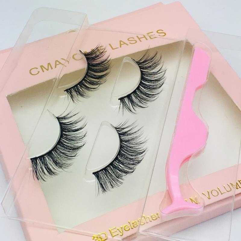 Nouveau 1 Box 2 paires + Brucelles 3D stéréoscopiques Faux cils naturels à long faux cils fibre Multilayer Lashes maquillage doux