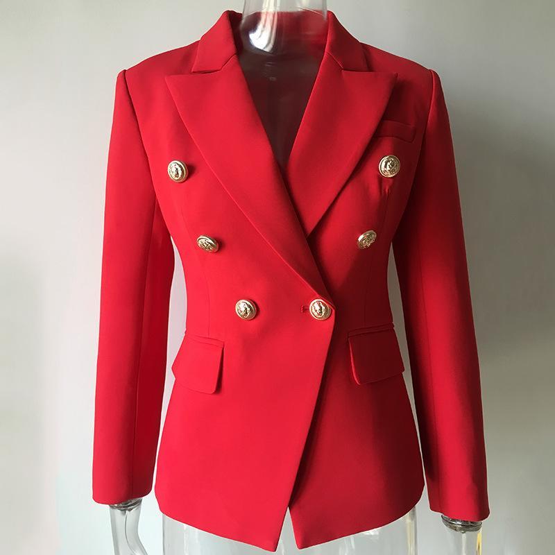 PYJTRL Frauen Herbst-Winter-Rot Jackett zweireihige Langarm-Blazer-Kleid Art und Weise beiläufiger Outfit Qualität Mantel