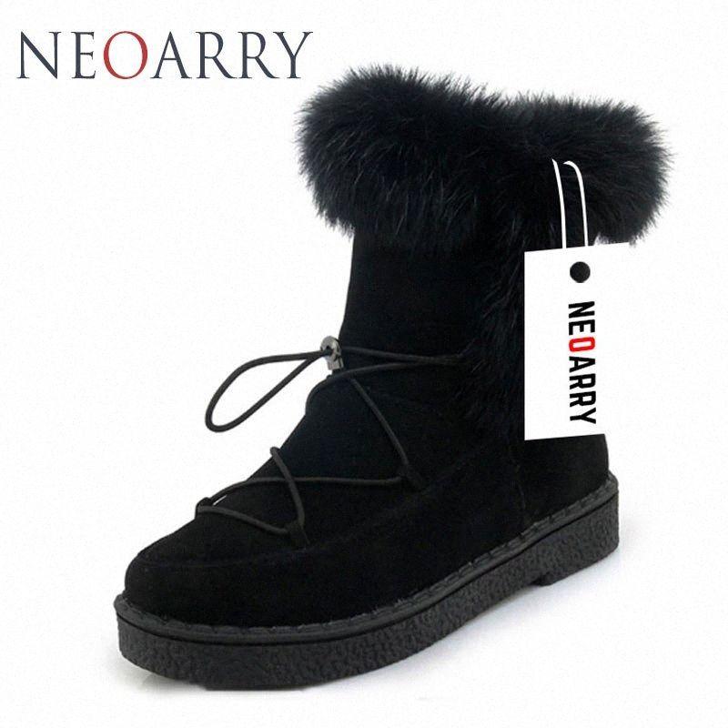 Neoarry invierno botas para mujer de la nieve botas de encaje de Calentamiento piel de la manera del tobillo de los botines de tacón bajo Rusia Calzado de las señoras del tamaño grande LT70 HNV #