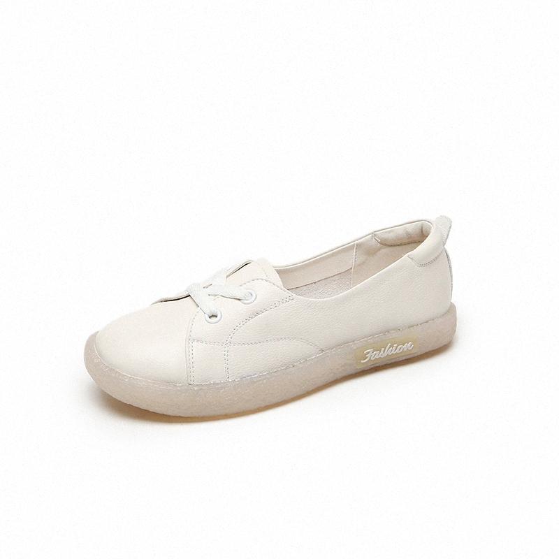 Donne 2020 nuovi appartamenti di modo dei fannulloni scivolare sul cuoio genuino Scarpe casual bianco R9dM #