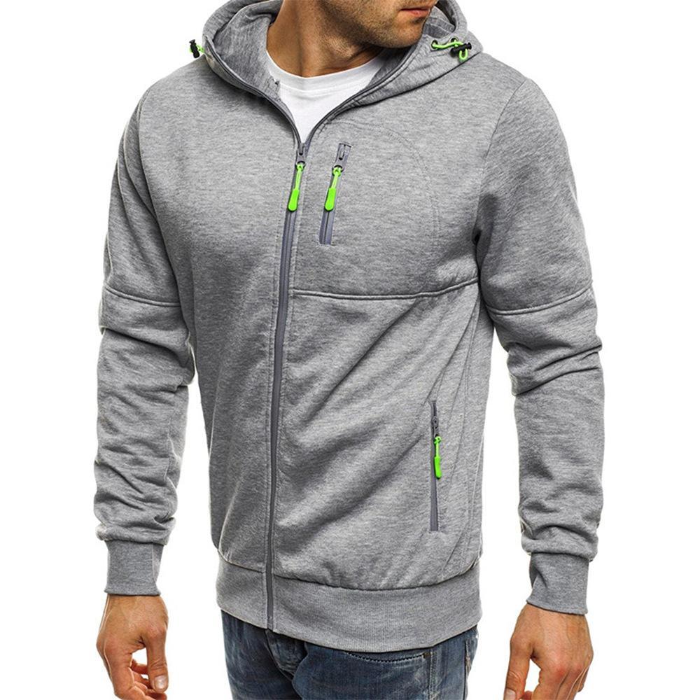 2020 New Cardigan Hooded Jacket Men Leisure Long Sleeve Polyester Sports Coat Male Hoody Swestshirts Workout Clothing Plus Size Y0111