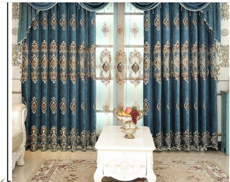 2020 hot sale Curtain fabric European shading embroidery living room bedroom curtain window screen custom curtain finished product