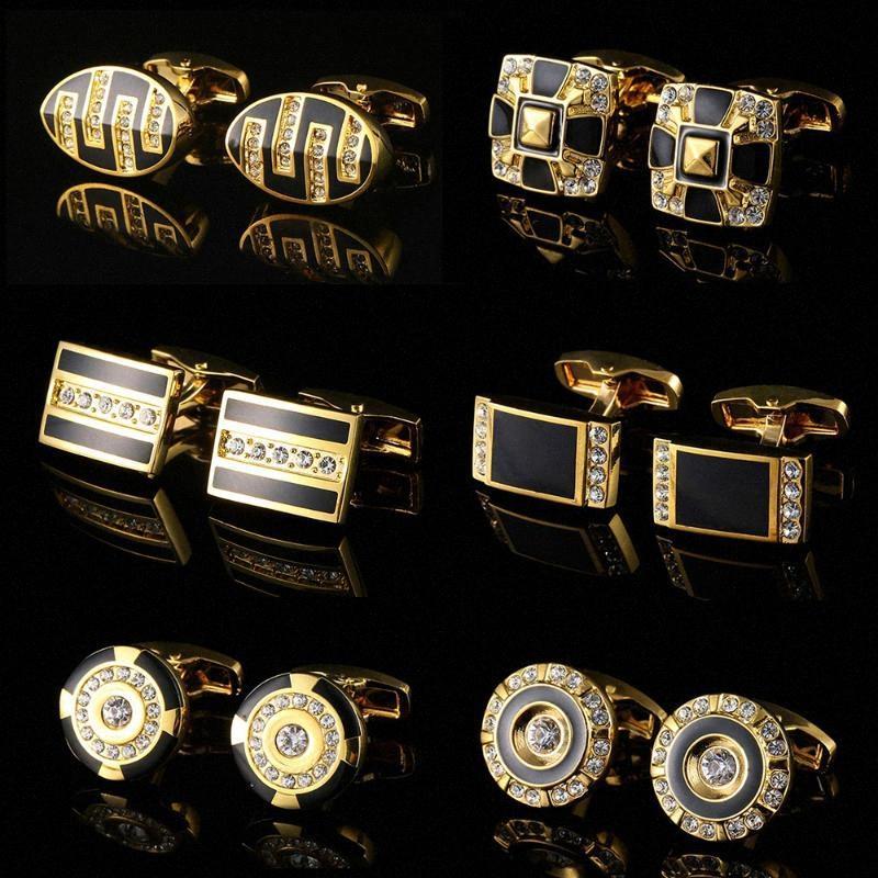 Freies Verschiffen HEISS Hemd Manschettenknopf für Männer Marke Emaille-Stulpe-Knopf-Hochzeit Stulpeverbindung Qualitäts-Gold Abotoaduras Schmuck Ukjv #