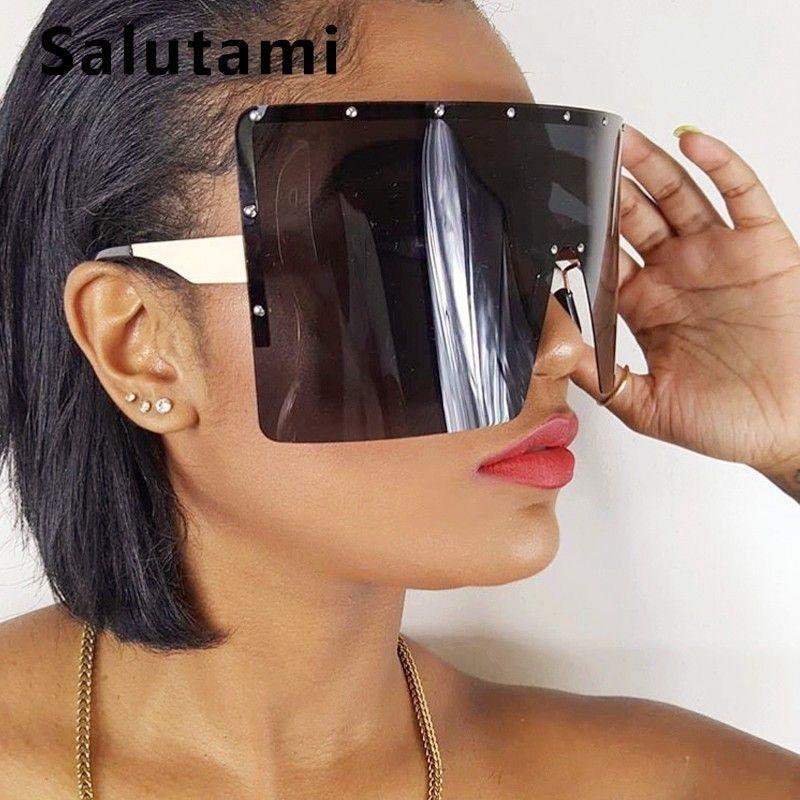 Oversize Winfproof occhiali da sole per le donne One Piece Big Square Lens Occhiali da sole Uomini senza orlo Retro Chic Shield Cool Shades