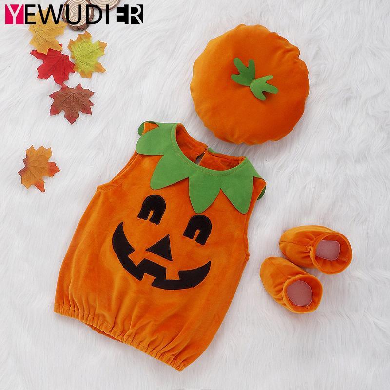 2020 Costume New Halloween infantil mangas Romper roupa do bebé da menina da abóbora Hoodie Top Hat + Shoes 3PCS Criança Cosplay Conjuntos 0917