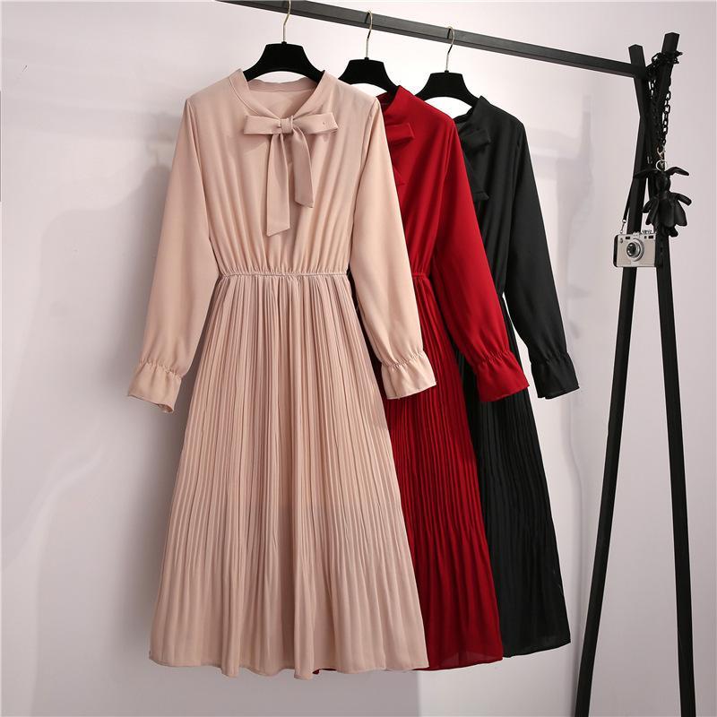 Elegante otoño invierno sólido plisado vestido de las mujeres 2020 collar nuevo arco dulce delgado vestido de manga larga Mujer Office Lady T200911