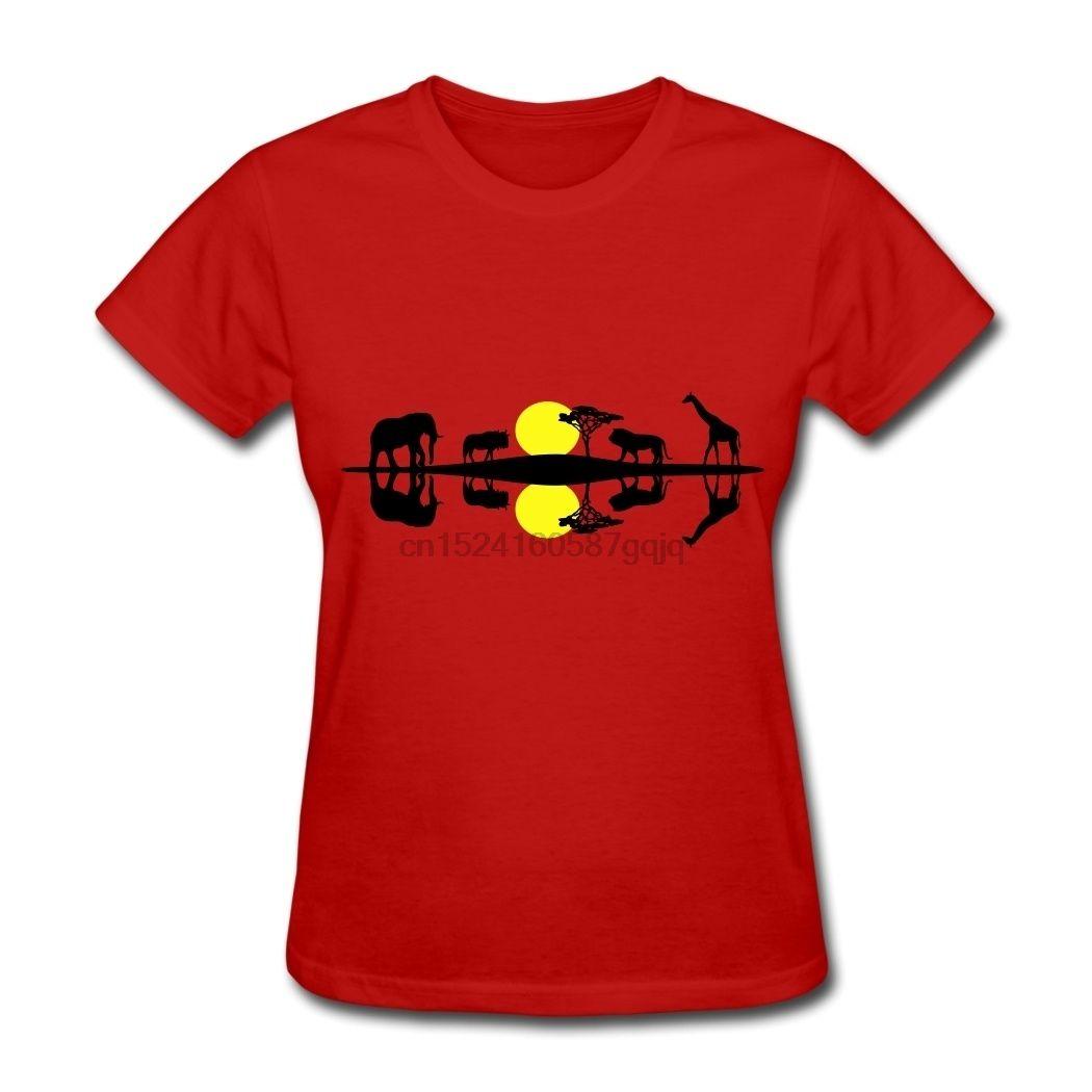 CHILL Conçu Afrique Savanna Réflexion Femmes T-shirts rouge