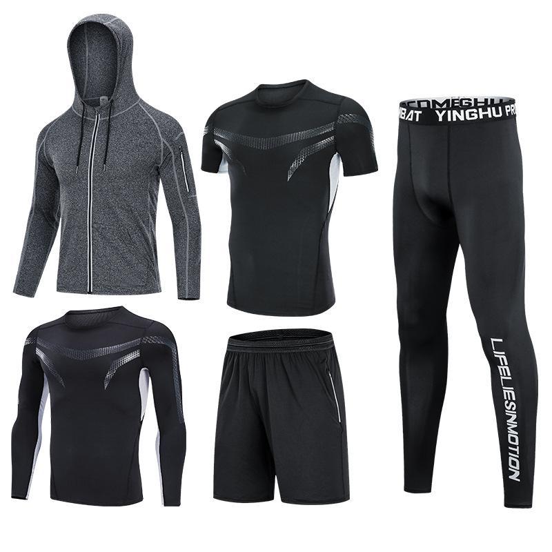 Fitness vêtements de course joggings exercice entraînement 5Pcs / Set vêtements de sport de compression Survêtement Hommes pour hommes Gym