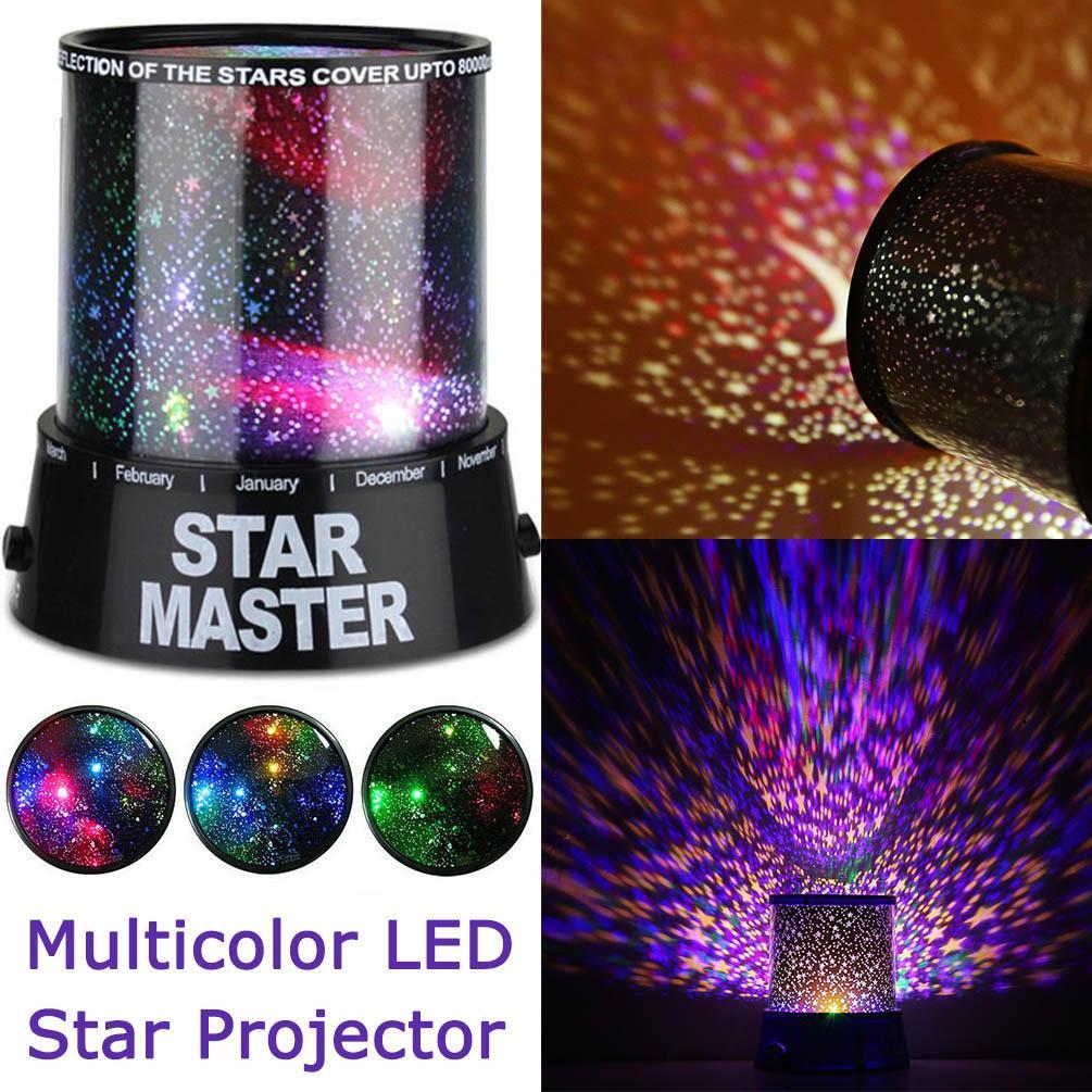 스타 라이트 프로젝터 LED 야간 라이트 스타 달 마스터 어린이 아이 낭만적 인 화려한 침실 장식 배터리 투영 램프 D35
