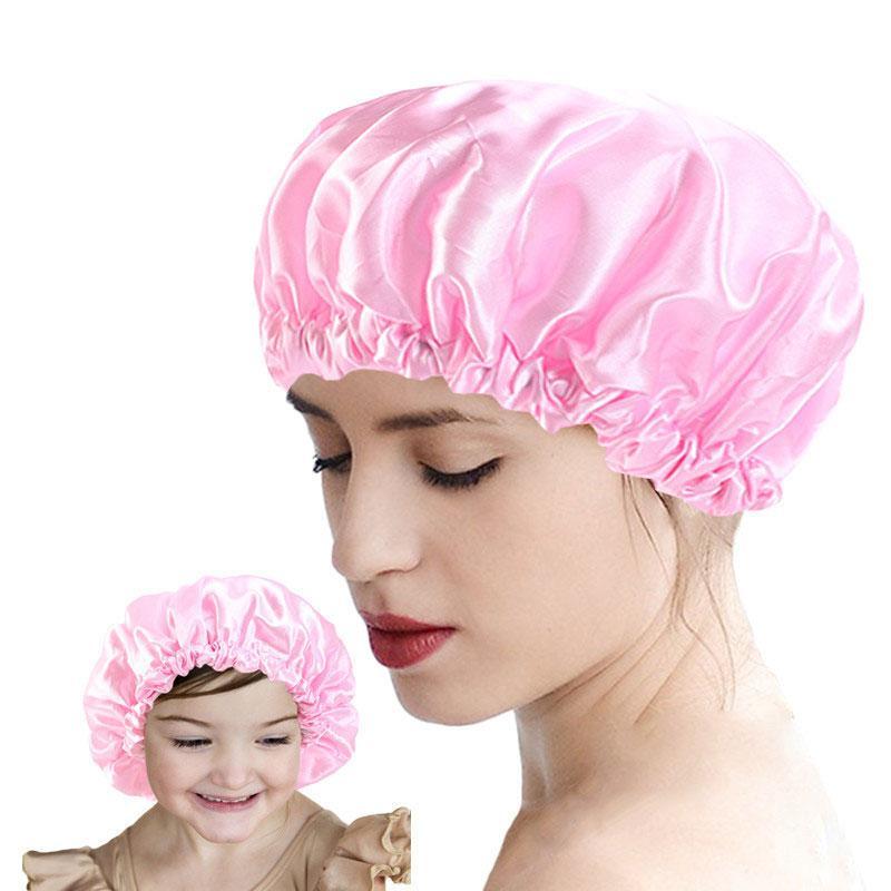 Katı Renk Ayarlanabilir Su Geçirmez Saten Uyku Caps Bonnet Anne Çocuklar Için Anne Çocuk Headwrap Gece Şapka Saç Bakımı Moda Aksesuarları