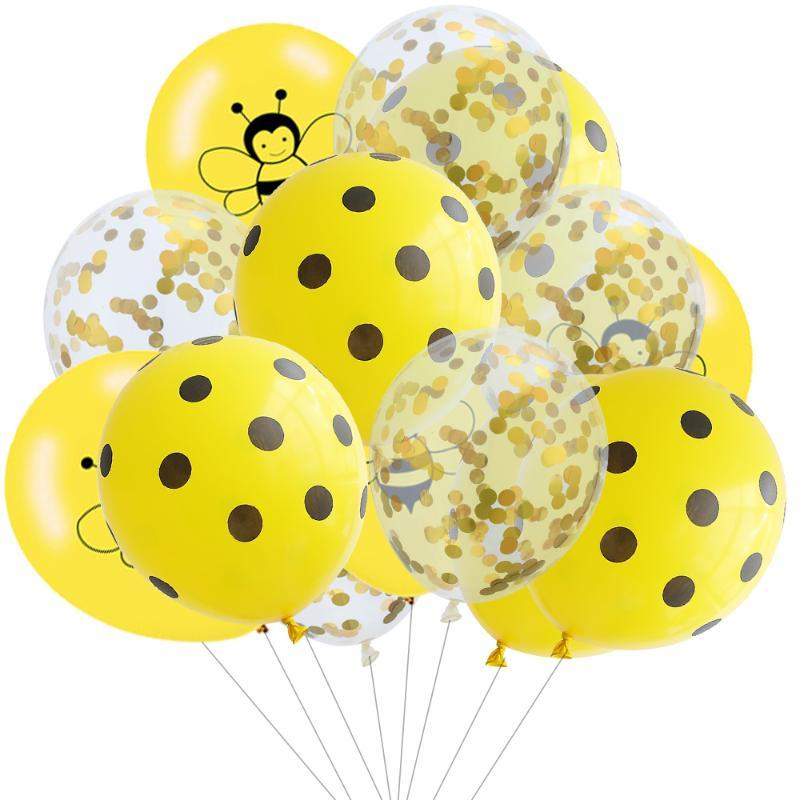 10/15pcs Yellow Bee Latex Balloon Black Dots Globos Kids Gender Reveal Birthday Decorations Bee Themed Birthday Party Supplies