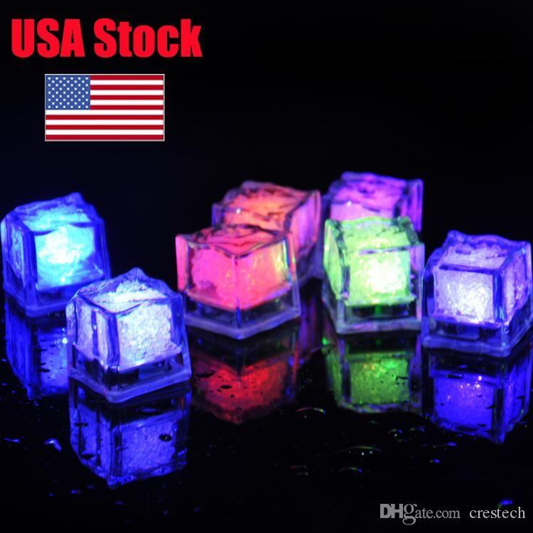 USA Stock RVB flash cube LED lumières de lumières Glaçons flash liquide capteur d'eau submersible LED Bar Light Up Club de soirée de mariage