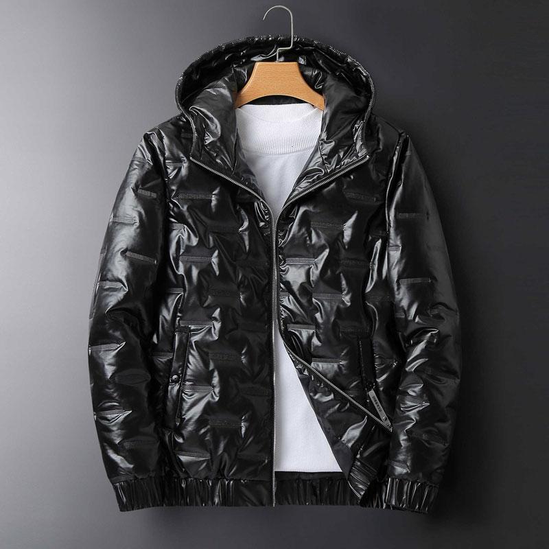 Yeni Erkek Kış Ceket Kaban Moda Letter Baskılı Katı Renk Ceketler Kalite Erkek aşağı kat 2 Renkler Siyah Beyaz Beden M-4XL Tops
