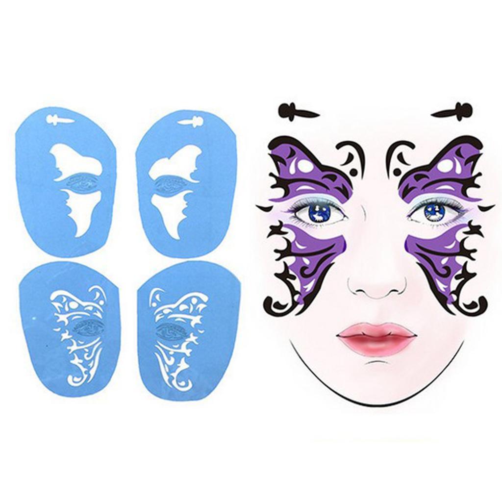 2 Sets wiederverwendbare Gesichts-Farben-Stencil-Fee Schmetterling + Katze Frauen Kostüm Make Up