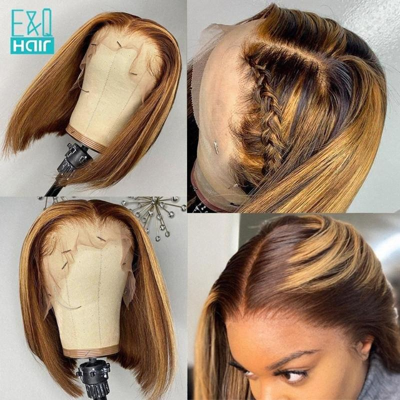 13X6 레이스 프런트가 인간의 머리 가발 여성 하이라이트 꿀 금발 360 레이스 정면 가발 브라질 레미 짧은 BOB 전면 가발 Jctu 번호