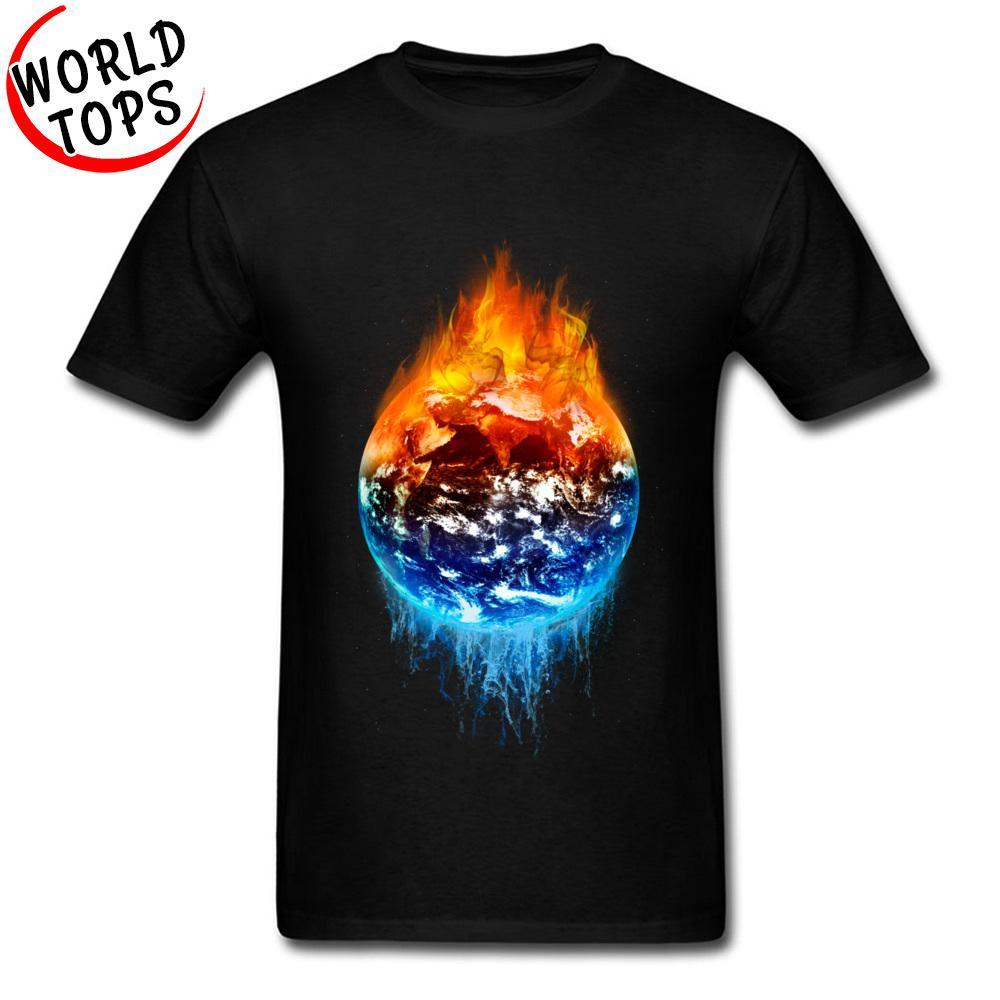 Impreso camiseta Fuego y agua Yin Yang Tierra verano / otoño 100% del algodón de camisas cómodas para hombre de la novedad caprichosos T-Shirts