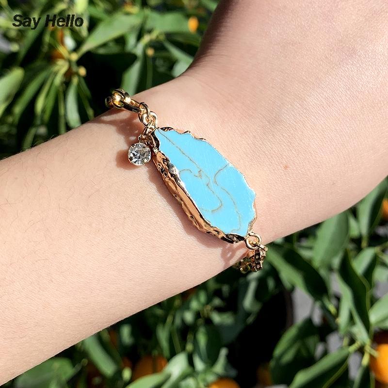 Cadena saludar Shell de la manera Piedra Larga pulsera con incrustaciones de joyería de la aleación Color de la pulsera irregular Turquesas mujeres del regalo K0470