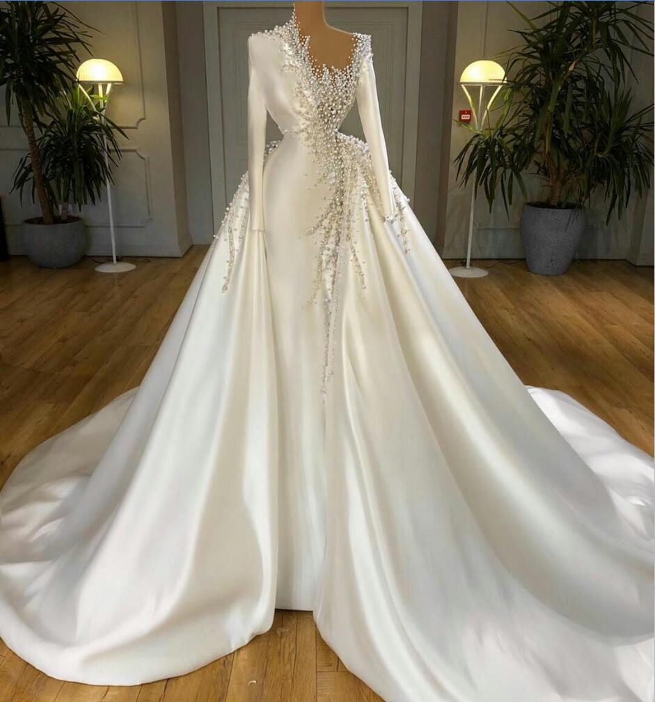 Vestidos de boda magnífico Con desmontable tren satinado Perlas barrido sirena del tren vestidos de novia de manga larga vestido de matrimonio Robe de mariée