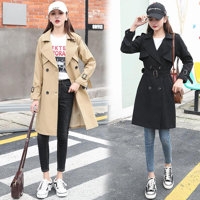 2020 Autumn New High Fashion Brand Woman Classic Double Breasted Trench Coat Waterproof Raincoat Business Outerwear J244