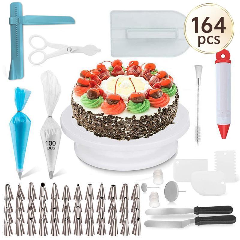 164PC Multifunction bolo Turntable Set Bolo decoração ferramentas Kit pastelaria Bico Fondant ferramenta da cozinha Sobremesa Baking Supplies # 15
