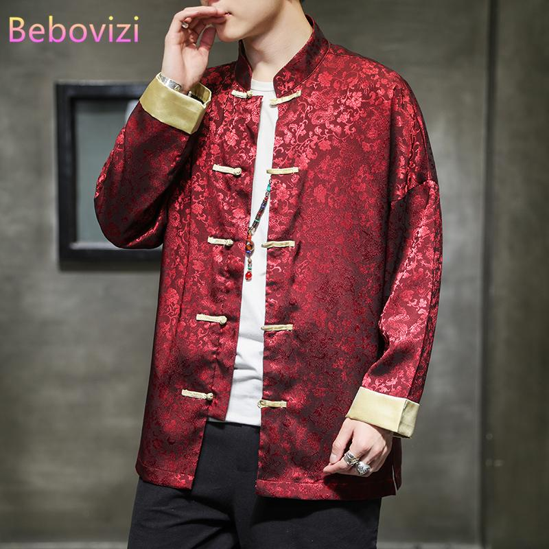 Plus Size M-5XL allentato Autumn Red Black Ice del tessuto di seta del vestito di linguetta di stile tradizionale cinese uomini alti giacca Capodanno Abbigliamento