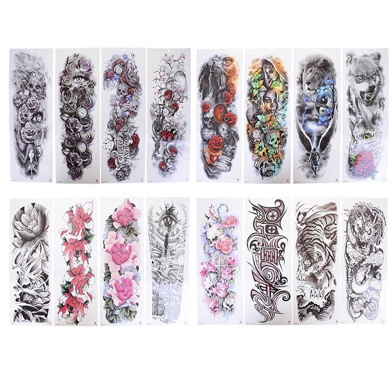 Waterproof Temporary Tattoo Sleeve Designs Full Arm For Cool Men Women Transferable Tattoos Stickers On The Body Art 51*18cm