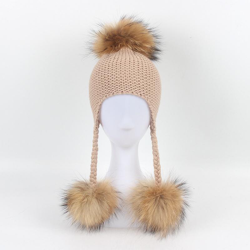Dollplus Baby-Hut-Kinder gestrickte Hüte Junge Mädchen Netter Winter Caps Waschbär-Pelz-Newborn Hat Warm Pompoms