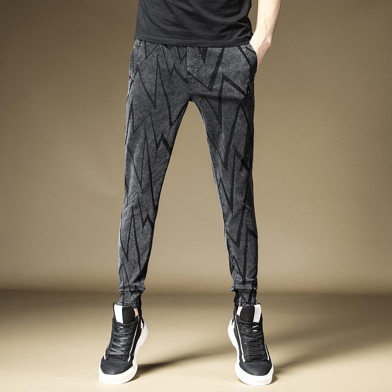 Ücretsiz Kargo 2020 Yeni erkek erkek pantolon pantolon Sonbahar gündelik kot erkek gevşek streç Kore Harlan pantolon kırpılmış