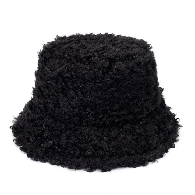 Warm Nuovo Outdoor Fluffy Sheep ricciolo in pelliccia invernale cappello della benna delle donne Pesca Solid Cap Panama Bob Chapeau Pescatore Gorros 2020