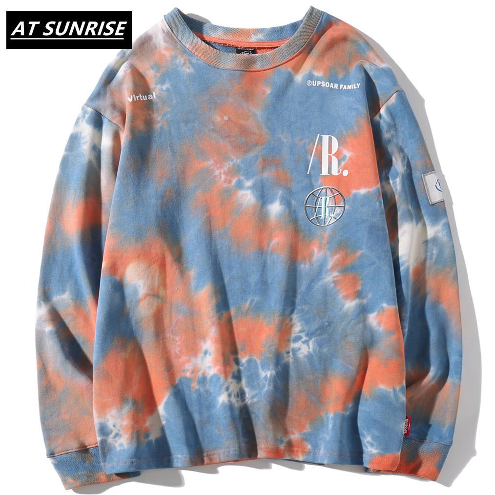 Beiläufige lose Abbindebatik O-Ansatz Pullover Sweatshirts Mens Hip Hop Hipster Punk Rock Street Hoodie Mode Jumper Druck Tops LJ200918