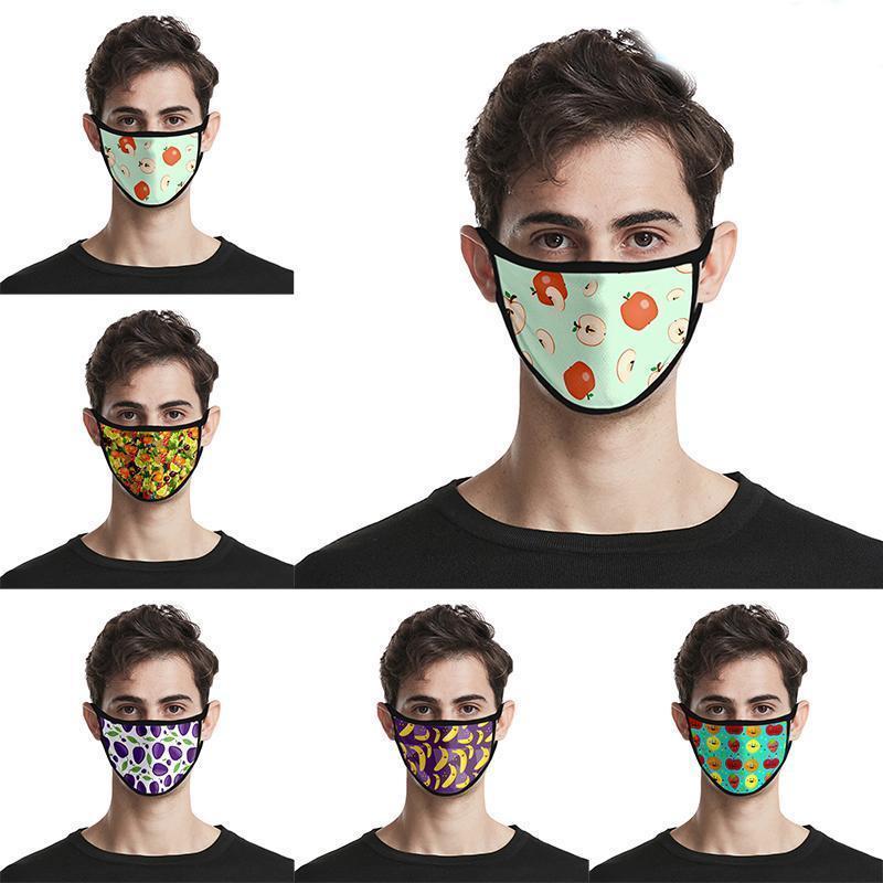 Спорт двери езда Face Mask Мода 3d печати Красочные фрукты маскирует Хлопок Многоразовый Дизайнер Xlicv