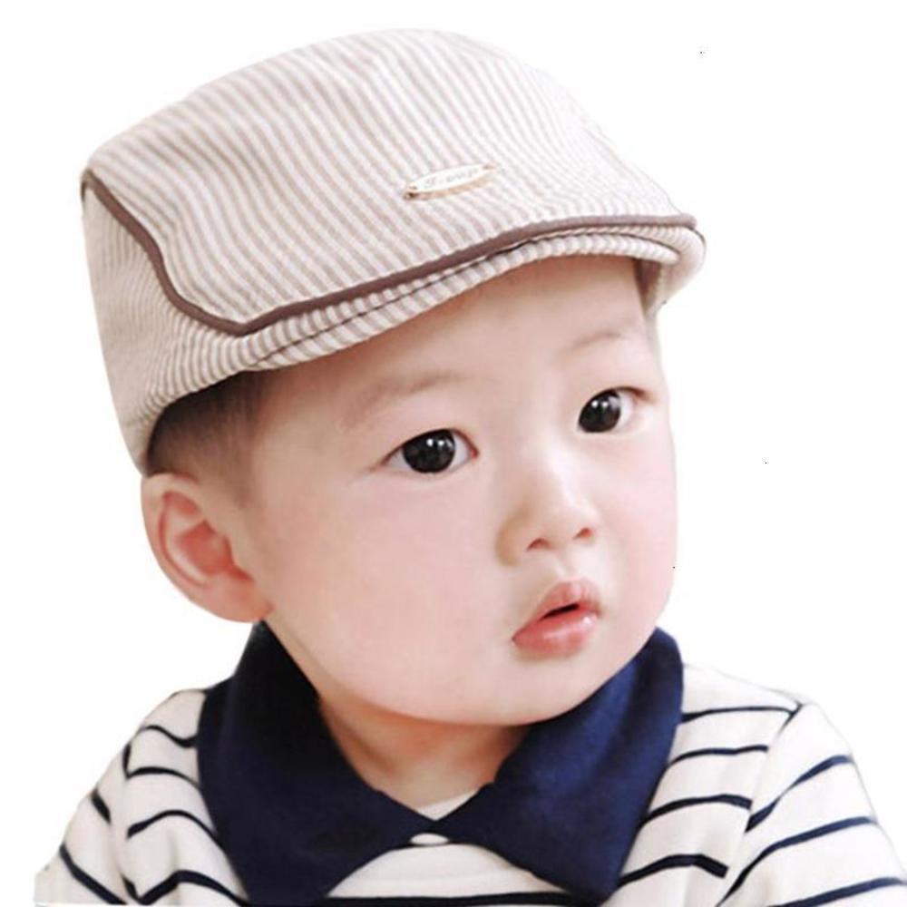 Yeni Arival Sevimli Bebek Bebek Erkek Kız Çizgili Bereliler Cap Beyzbol Şapka sevimli küçük beyefendi Ağustos 13HFP0 Deals Peaked