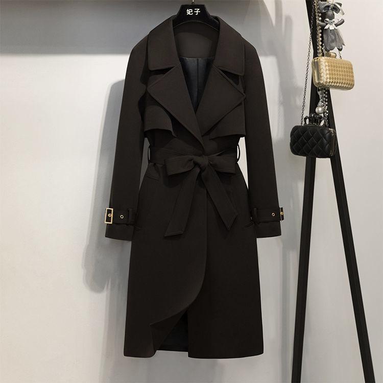 Однобортные женщины моды куртка женщины средней длина ветровки отворот воротник рыхлых моды осенью и зимой опоясанная куртка женщин