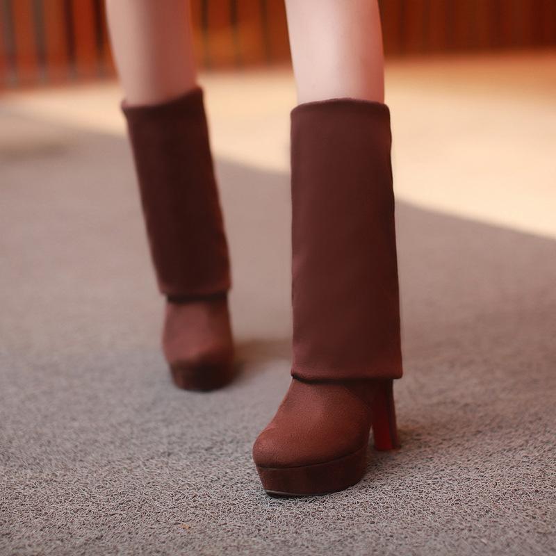 Женщины Boots Супер высокие каблуки Скольжение On Over The Knee Sexy Длинные сапоги женские платформы Натяжные заплатки Flock Два способа Wear 200918