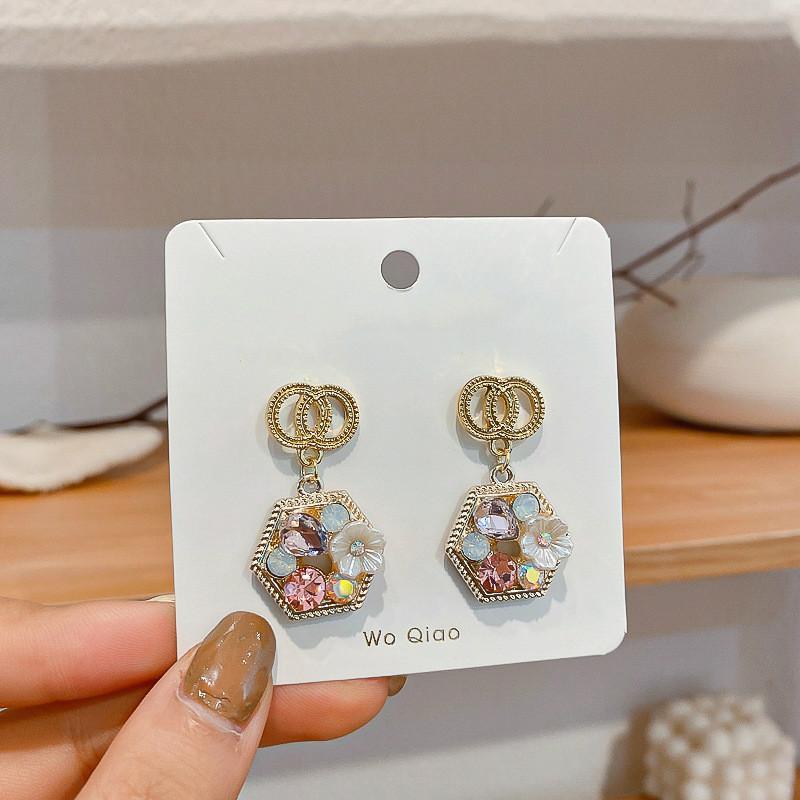 2020 pendientes del estilo de las nuevas mujeres de Corea del círculo doble flor dulce pendientes lindo gota de la chica de moda joyería y accesorios