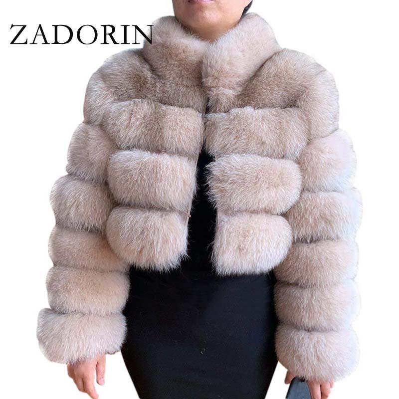 ZADORIN 2020 Mode hiver court en fausse fourrure manteau femmes col de fourrure de luxe Pied épais chaud Furry Veste Faux Top Plus Size
