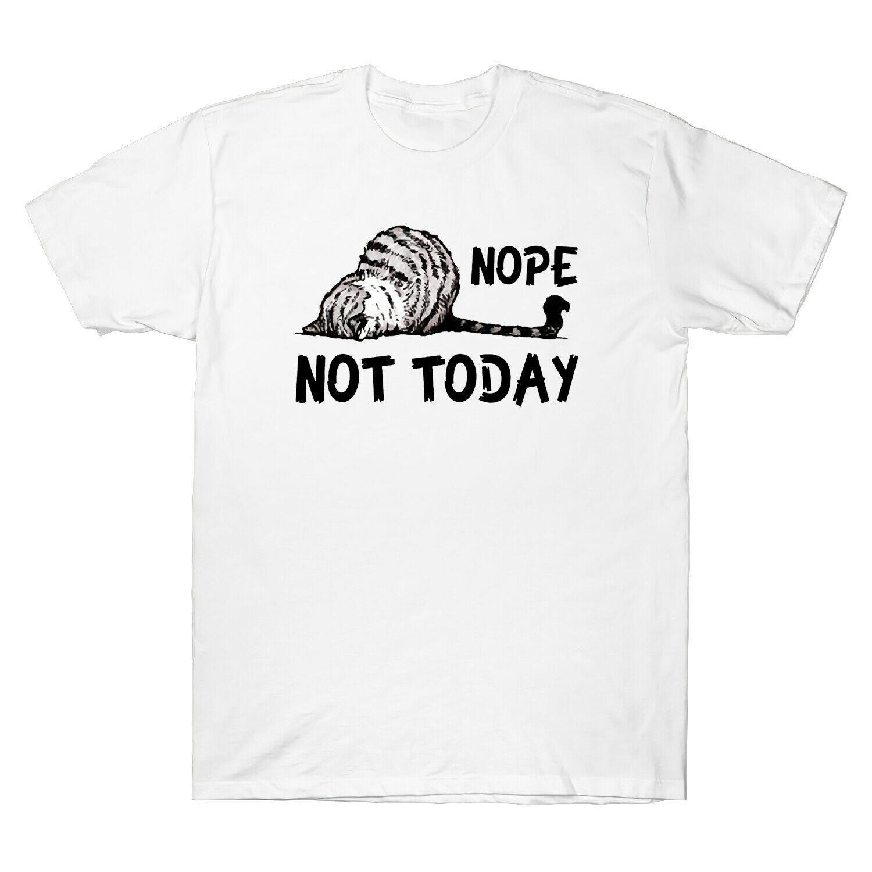 Non pas drôle Aujourd'hui Lazy Cat Vintage T-shirt homme d'amant de chat T-shirt en coton noir