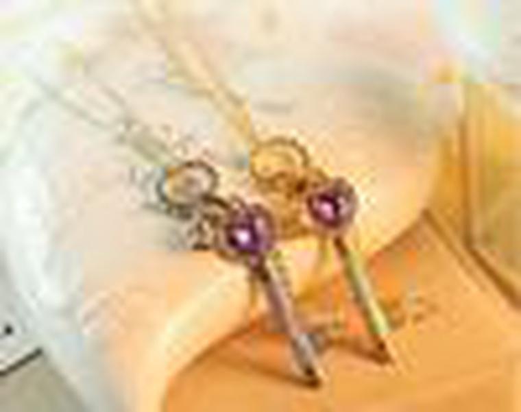 Cgjxs Vente chaude Autriche Améthyste Loves d'or collier pendentif en cristal Mode Femmes Mode Bijoux XL5